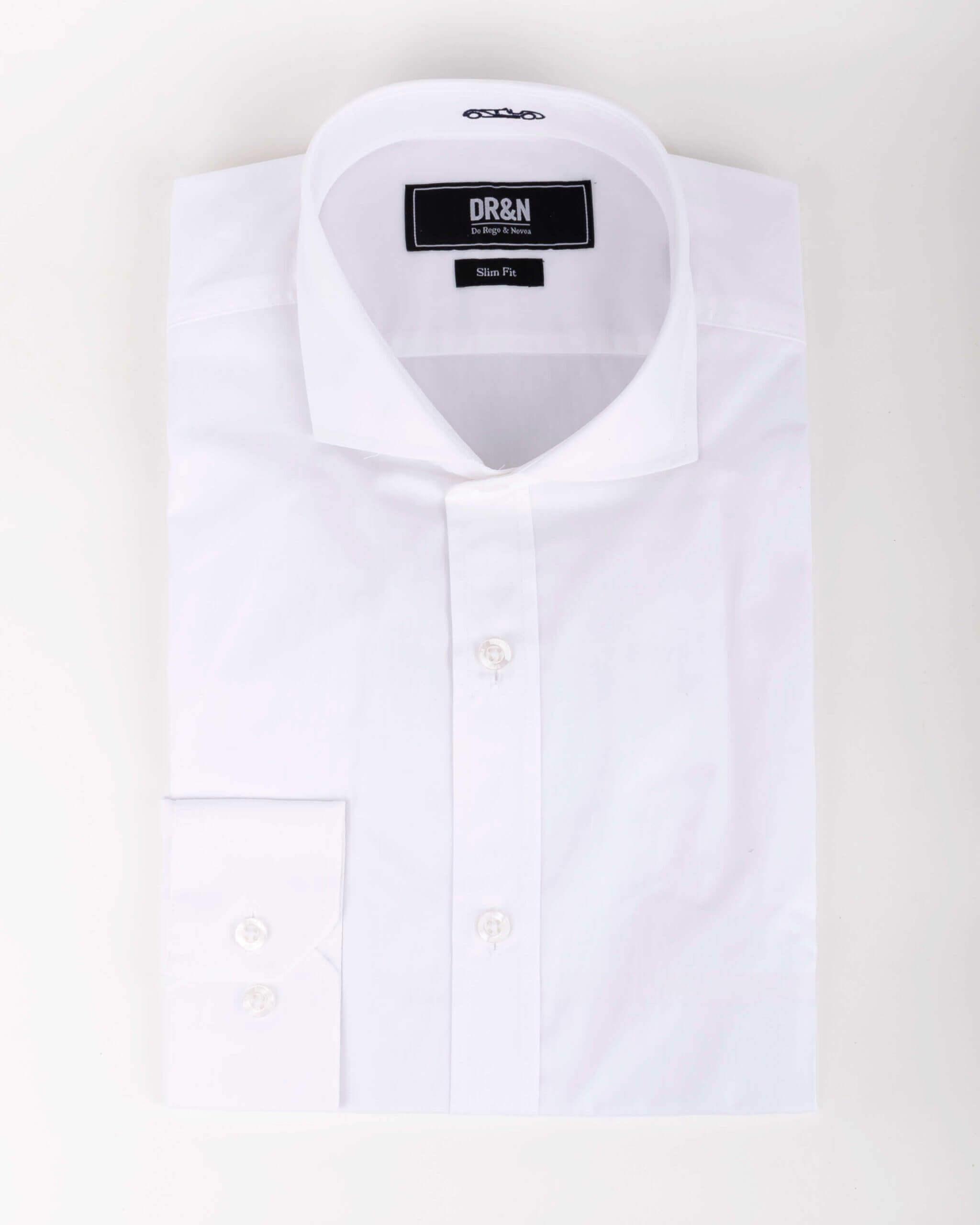 Camisa Básica Cuello Italiano Blanco