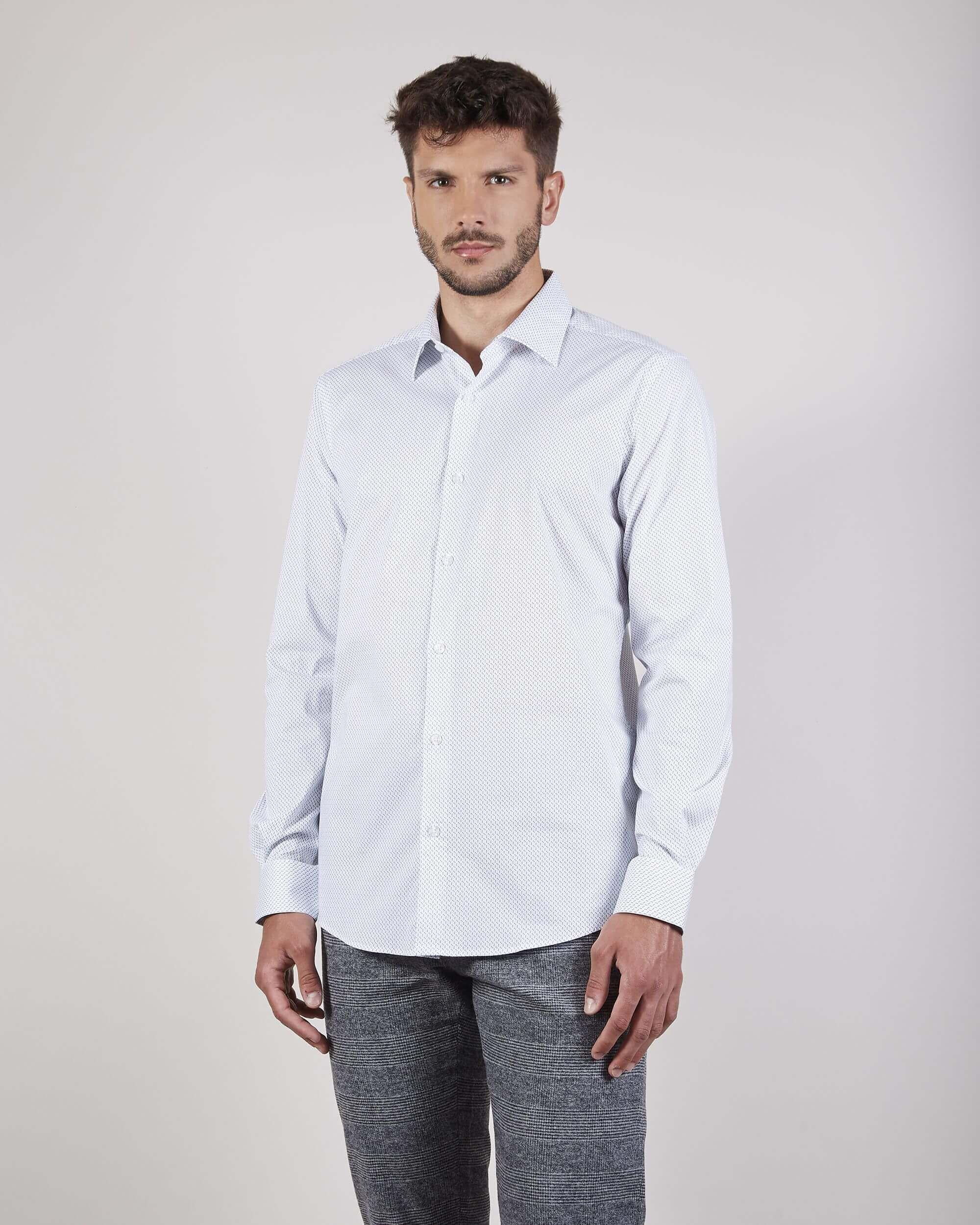 Camisa microdibujo blanca